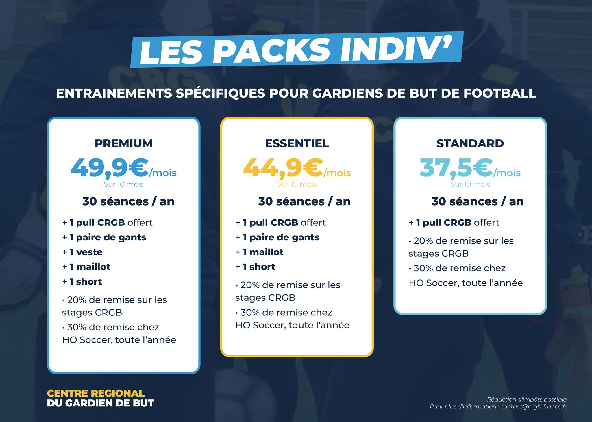 Pack Individuels entraînements gardien de but de football CRGB